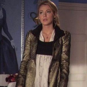 Alice + Olivia Gold metallic coat ASO Gossip Girl